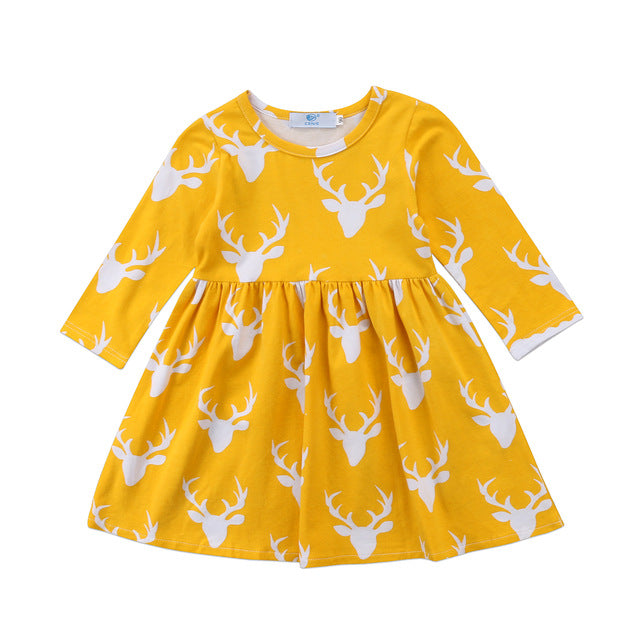 Christmas Reindeer Long Sleeve Dress 2-6Y