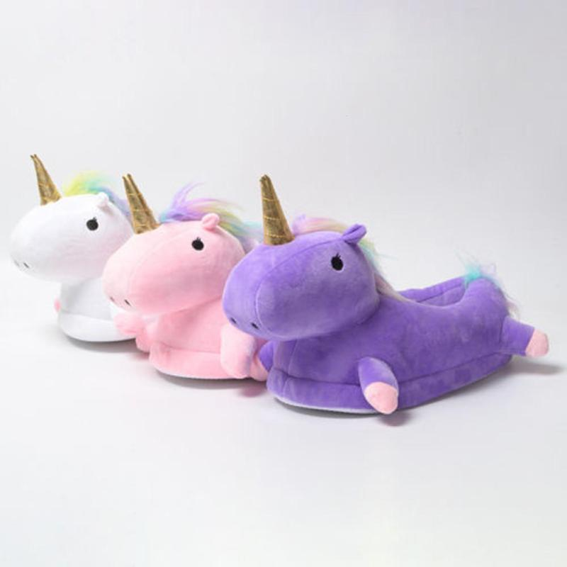 Glowing Unicorn Plush Slippers