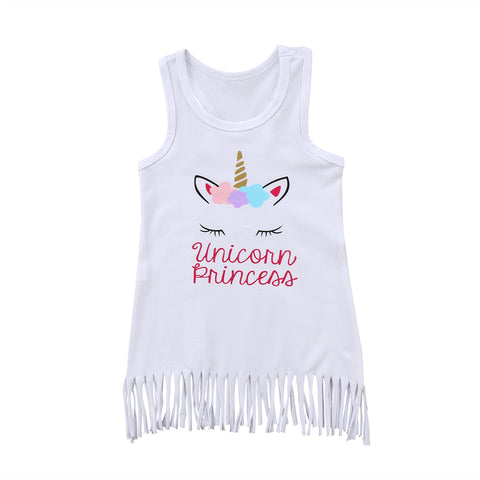Girl Unicorn Print Tassel Dress