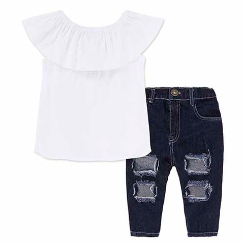 2-Pc White Ruffle Top & Denim Pants Set