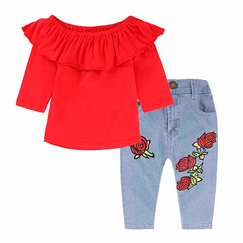 2-Pc Ruffle Off-Shoulder Top & Rose Denim Set 1-6Y
