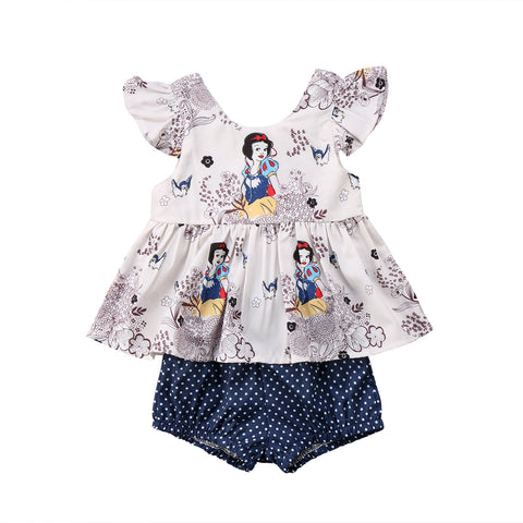 2-Pc Snow White Top & Shorts Set
