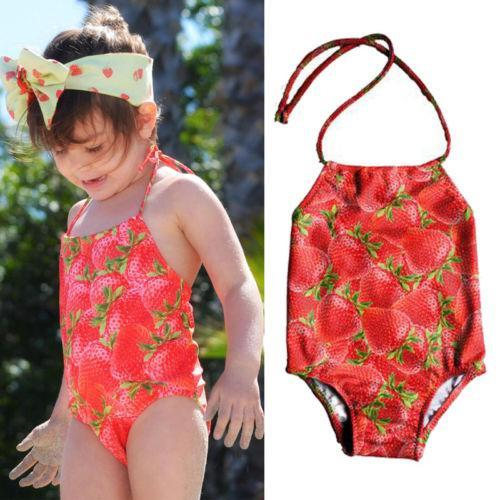One Pc Girl Strawberry & Pineapple Print Swimwears