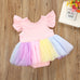 Baby Girls Unicorn Flying Sleeve Tutu Lace Dress