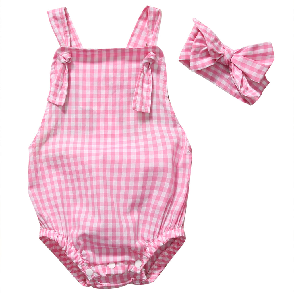 2-Pc Pink Checkered Romper