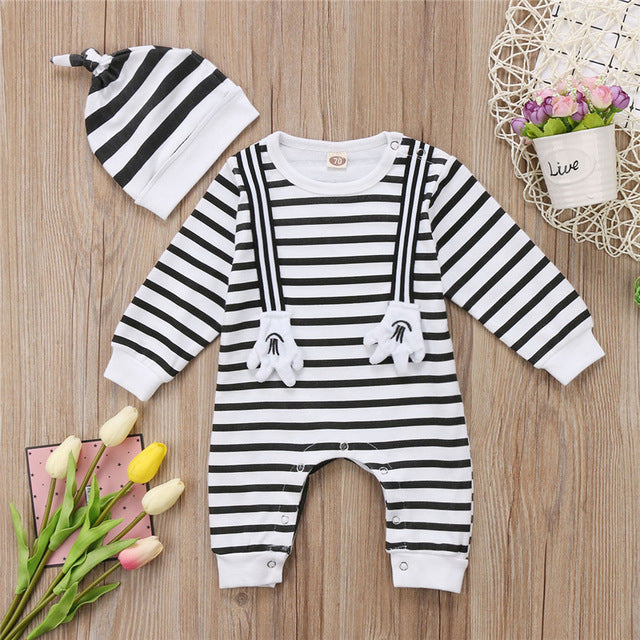 2-Pc Striped Rompers Set