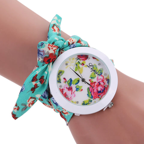 Vintage Quartz Floral Fabric Wristwatch