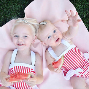 Girls White & Red Striped Swimwear