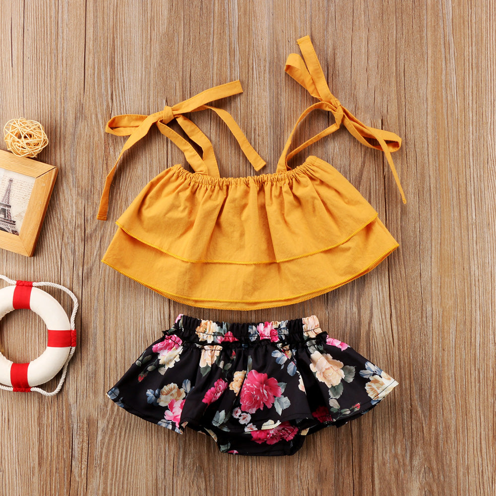 2-Pc Mustard Crop Tops + Floral Bottoms Matching Sets for Sisters