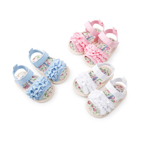 Summer Casual Floral Crib Shoes for Baby Girls (0-18M)