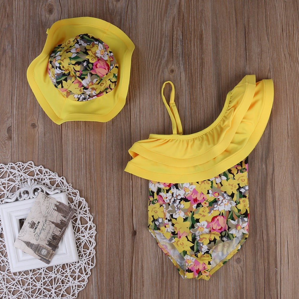 2-Pc Girl Ruffle Floral Print Swimwear Set