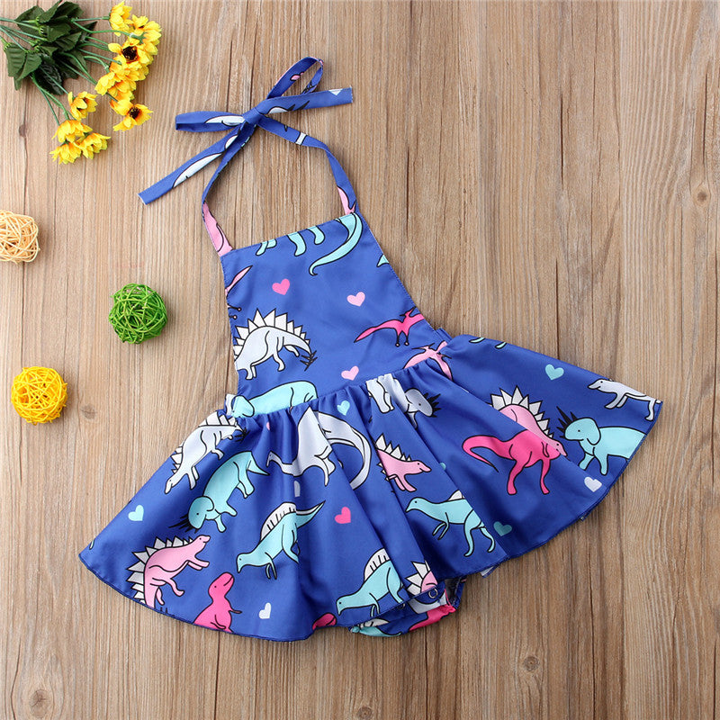 Suzy Dinosaur Summer Halter Dress