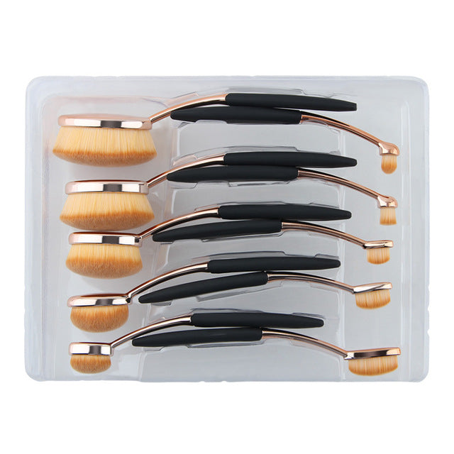 10-Pc Oval Makeup Brush