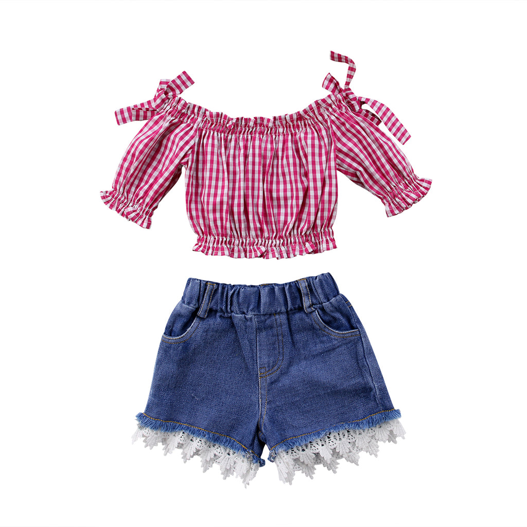 Summer Plaids Off Shoulder Red Top + Laced Denim Shorts Outfit for Girls