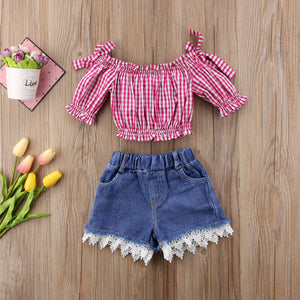 Summer Girls Plaids Off Shoulder Red Tops + Lace Denim Shorts Outfits