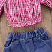 2-Pc Girls Plaids Tops & Lace Denim Shorts Set ( 1-5Y)