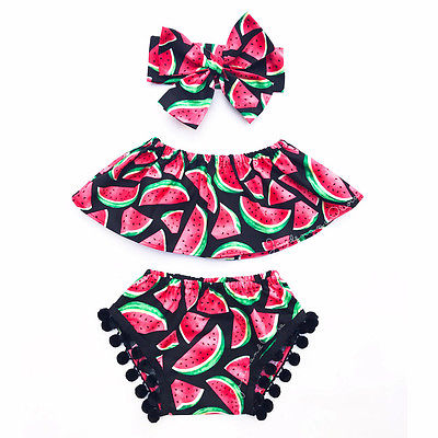 3-Pc Watermelon Ruffle Outfit