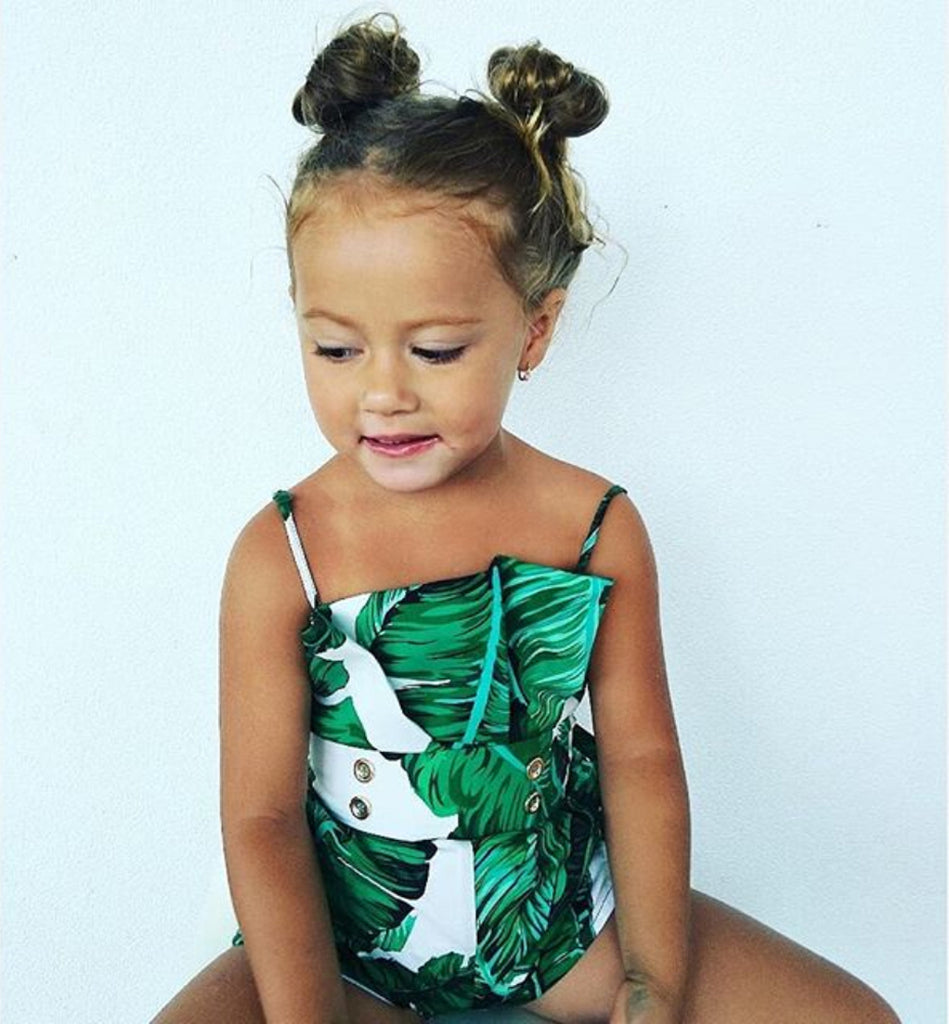 Baby Girl Leaf Print Spaghetti Strap Jumpsuit