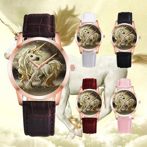 Faux Leather Unicorn Quartz Wristwatch