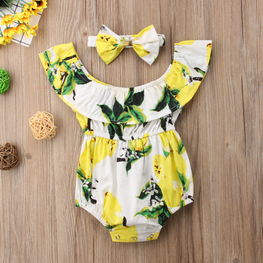 2-Pc Lemon Jumpsuit Set (0-18M)