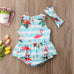 2-Pc  Striped Flamingo Romper Set