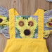 2-Pc Sunflower Ruffles Romper Set 0-24M