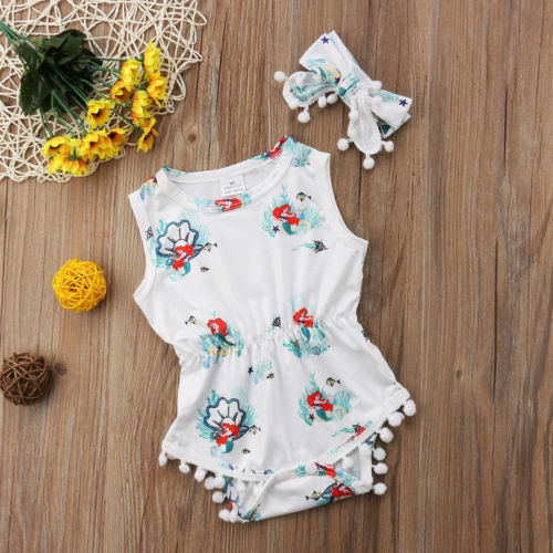 2-Pc Sleeveless Mermaid Romper Set