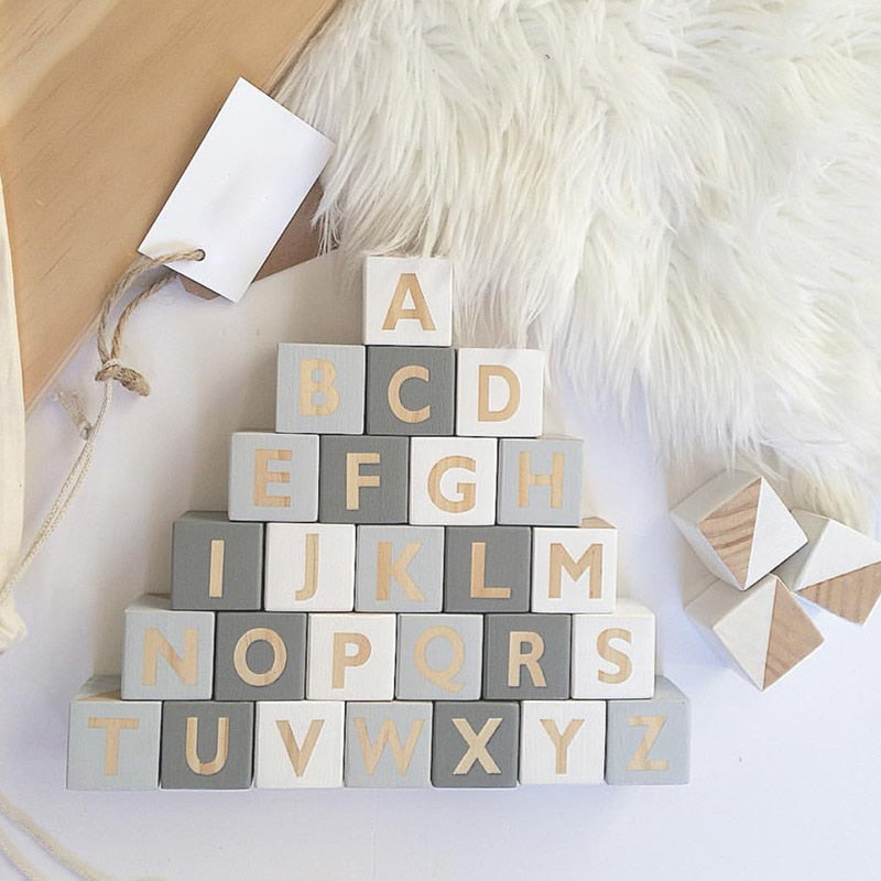 Nordic Wooden Letter Blocks for Decor (5cm x 5cm x 5cm)