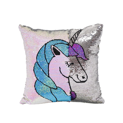 Reversible Sequins Unicorn Throw Pillow Case