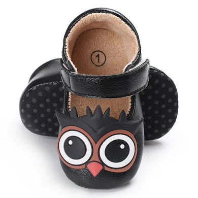 Baby PU Leather Owl Crib Shoes  (0-18M)