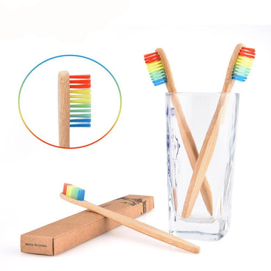 10pcs Eco-friendly Ultra Soft Wooden Rainbow Bamboo Antibacterial Wooden Toothbrush