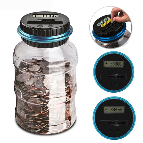 Electronic Digital LCD Counting Coin Money Saving Jar (US, Euro & Pound)