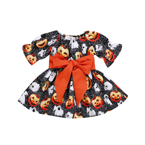 Halloween Party Pumpkin Bow Dress Clothes 1-5Y