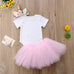 Lovely Newborn Baby Girl Unicorn Romper Top+Tutu Skirts & Headband Set