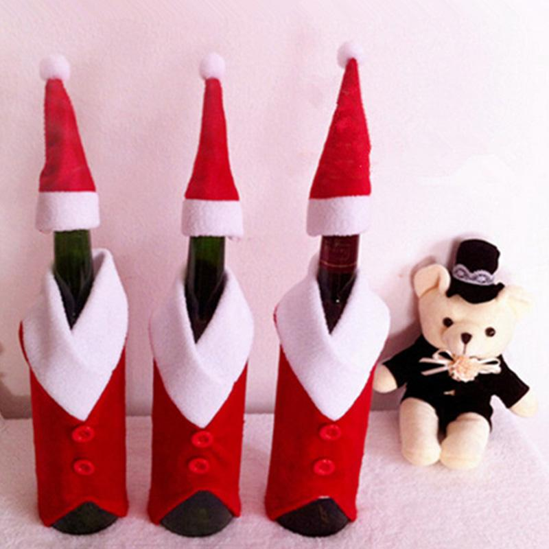 2 Pc Christmas Wine Bottle Covers Set