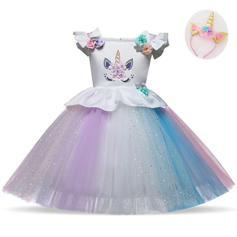 Princess Girls Unicorn Dresses With Headband