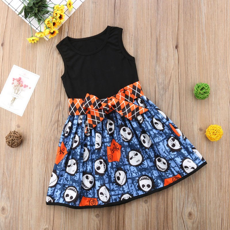 Halloween Bowknot  Dress 0-4Y
