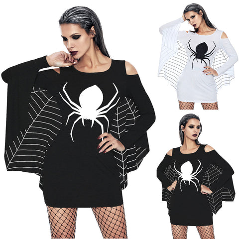 Halloween Spider Off Shoulder Long Sleeve Bat Sheath  Mini Dress