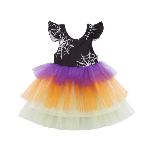 Halloween Girls Spider Web Print Tulle Tutu Dress