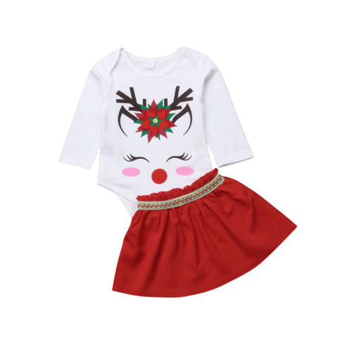 2-Pc Christmas Baby Girl Romper  Tutu Skirt Set