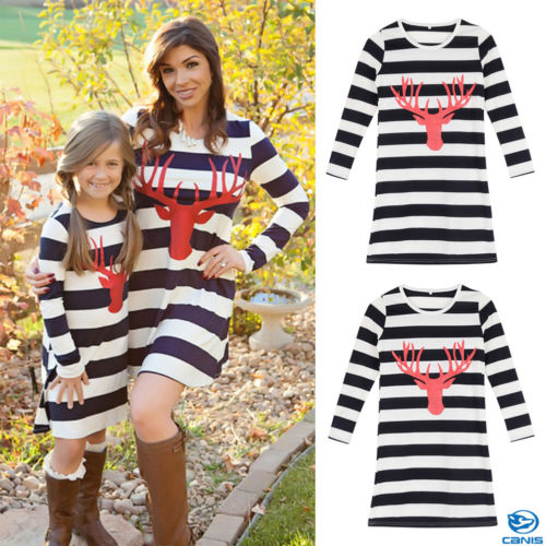 Mother and Daughter Matching Christmas Reindeer Stripes Dresses