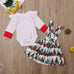 Baby Girl Christmas Long Sleeve Romper Strap Skirt Set