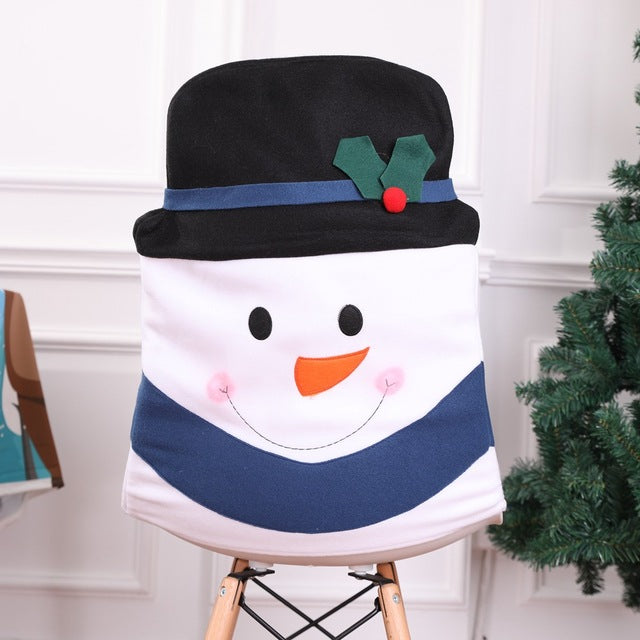1-Pc Christmas Cute Snowman Chair Seat Cover