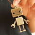 Long Genuine Leather Robot Pendant Necklace
