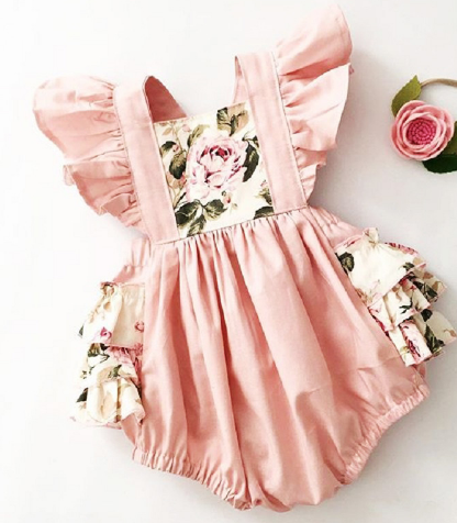 2-Pc Floral Ruffle Baby Romper (0-24M)