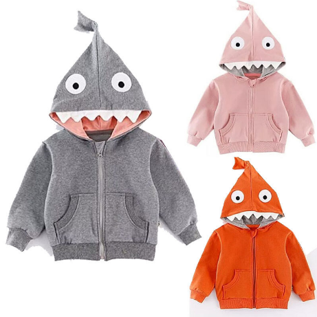Kids Shark  Hooded Sweaters 1-4Y