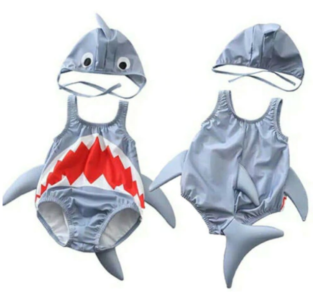2Pc Kid Shark Swimsuit Set