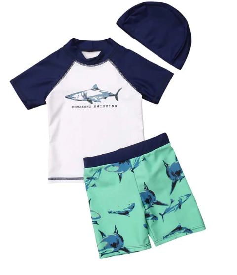 3 Pc Children Shark Print Swim Set