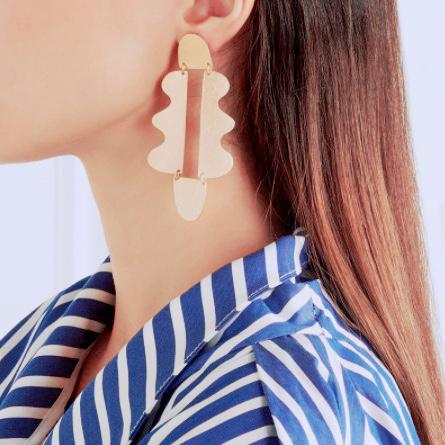 Victoria Geometric Brass Statement Earrings