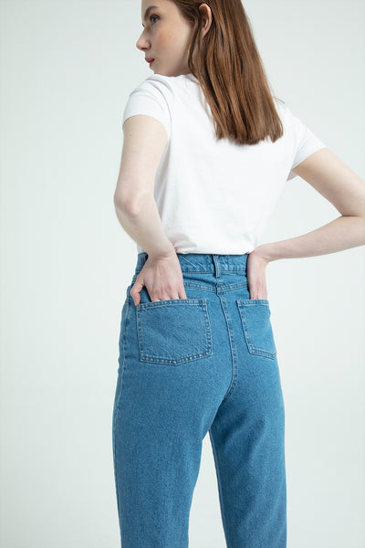 Dar Paça Denim Pantolon